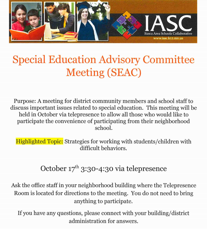 Special Education Advisory Committee Meeting Invite